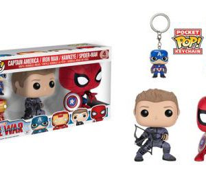 Captain America: Civil War - Hawkeye & Spiderman POP Vinyl Figure w/ Captain America & Iron Man Key Chains (4-Pack)